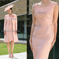 Reference Images Scoop Neckline Satin 2014 New Sexy Luxury Beaded Sheath with Scoop Knee-length and Long-sleeves Mother Of The Bride Dresses with a Jacket Dhyz 01