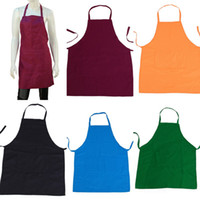 Wholesale 1pcs Pure Color Hanging Neck Cotton Bib Apron For Kitchen Cooking Mens Ladies Unisex Home Accessory Colors DTG