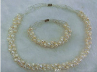 Wholesale 2014 Natural Cultured Freshwater Pearl Jewelry Sets fashion brand bracelet amp necklace with Glass Seed Beads
