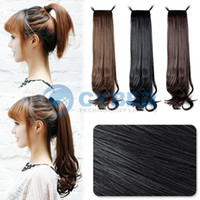 Wholesale Hot Sell Synthetic Horsetail Hair Extension Long Wavy Ponytail Hairpiece Ponytail quot Black Dark Brown Light Brown