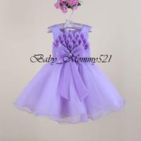 american lotus flower - Flower Girls Dress New Arrivals Vestido meninas Sleeveless Big Bowknot D Lotus Petals Kid Girl Party Dresses