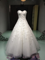 Wholesale A Line Sweetheart Floor length Beaded Applique Tulle Standard code wedding dresses Fashion Wedding gown No Risk Shopping