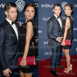 Wholesale 2014 InStyle And Warner Bros Celebrity Red Carpet Dresses Nick Jonas Sexy Black Sheath V Neck Cap Sleeve Backless Short Stain Gown Dhyz
