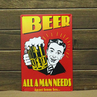 Wholesale Mike86 BEER ALL A MAN NEEDS APART FROM SEY Metal signs Art wall decor Metal Paintings B Mix order CM