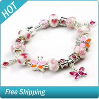 Cheap Pink lover butterfly dances Shambhala beads jewelry 925 Silver Charm Bracelet with Murano Glass Beads DIY Fashion Jewelry 1314