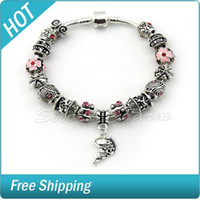 Beaded, Strands Other Women's Fish Charm Bracelet 925 Tibetan Silver Murano Glass For Women Fashion European Style Jewelry High quality Shambhala beads jewelry 1236