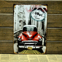 Metal Yes Antique Imitation [ Mike86 ] CUBA RED CAR TIN SIGNS wall art decor House Cafe Restaurant Bar Metal Painting B-125 Mix order 20*30 CM