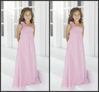 Wholesale 2014 Retro Hot Custom made New Design Strapless Sleeveless Zipper Floor Length Ruffle A line Flower Girls Dresses