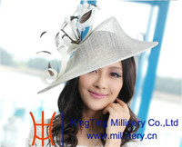 Wholesale Elegant Small Women s Cute Fascinator Hat Hair Accessories Small Hat For Formal Dress Feather Hairband White Hat Free EMS Shipping