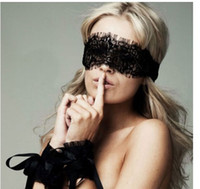 Wholesale New Women s Sexy Lingerie Black Lace Eye Covers with pair Hand Wrap Gloves EMS FREE