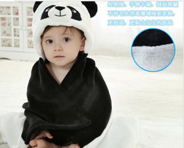 Wholesale Cute baby s blanket cute panda design hooded black