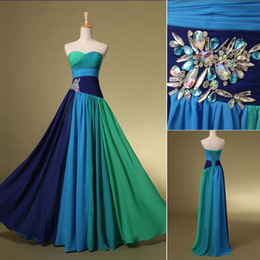 Wholesale 2014 New Arrival Blue In Stock Prom Cocktail Homecoming Party Dresses Evening Gowns With Sweetheart Colorful Crystal Floor Length SD063