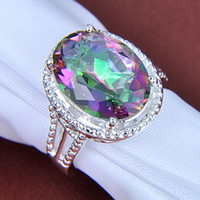 Wholesale Royal style silver Beautiful design Natural Mystic topaz best for Lovers Ring CR0179