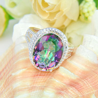 Wholesale 10pcs Royal style silver Beautiful design Natural Mystic topaz best for Lovers Ring CR0179