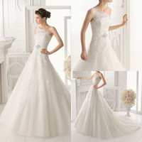 Wholesale Elegant A line Bridal One Shoulder Gown Crystal Beading Lace Sweep Train Flower Chinese Wedding Dress DL1300443