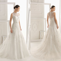 Wholesale Elegant A line Bridal Sleeveless Gown Crew Sash Lace Sweep Train Flower Chinese Wedding Dress DL1300444