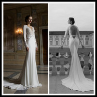 Trumpet/Mermaid Model Pictures V-Neck Hot Vintage Lace Long Sleeve Wedding Dresses Berta Winter 2014 Deep V Neck Open Applique Sheer Chapel Train Chiffon Mermaid Bridal Gowns