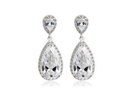 Elegant Teardrop Shape Swiss Cubic Zirconia Diamond Bridal Earrings