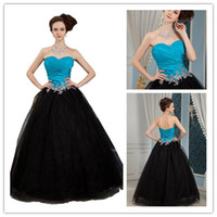 Cheap Aqua Blue And Black Lace Applique Ruched Sweetheart Evening Dresses Prom Dresses Gown Tulle A Line Floor Length Ball Gown DL132000520
