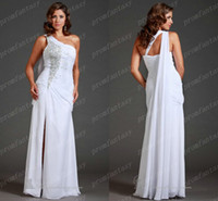 Cheap White Chiffon Greek Goddess Sheath Wedding Evening Dresses 2014 One Shoulder Flowy Train Backless Crystals Beaded Slit Bridal Party Gowns