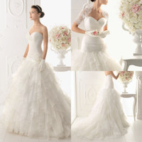 Wholesale Elegant A line Bridal Short Sleeve Gown Beading Organza Sweep Train Chinese Wedding Dress With Lace Bolero DL1300465
