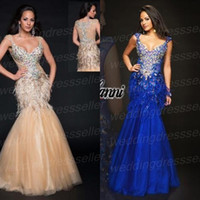 Wholesale Gorgeous V Neck Mermaid Organza Beads Crystal See Through Feather Formal Evening Gown Pageant Dress