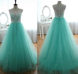 Wholesale Designer Elegant Beaded Mint Lace Tulle Pageant Dresses For Women Formal Dresses Cheap Dresses Same