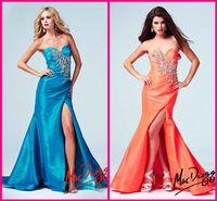 Wholesale 2014 Orange Taffeta Mermaid Wedding Evening Dresses Iridescent Crystals Beaded Side Slit Long Blue Debutante Formal Vestidos New Design Sale
