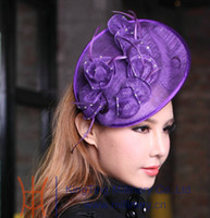 Stingy Brim Hat Purple Kentuck derby ,race,wedding ,church  Women Fashion Sinamay Fascinator Fashion Dress Hat Fashion Hats Wedding Hair Accessories Purple Color Hair Clips Party Hats Clip Feather