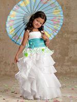 Wholesale Jewel Ball Gown Flowergirl Dresses Birthday Pageant Dresses Special Taffeta Ribbon kids Bridesmaid Dresses