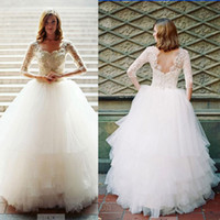 Wholesale 2014 Casablanca A Line Ball Gown Sweetheart Long Sleeves Bakcless Tulle Floor Length Wedding Dresses with Appliques and Beaded Dhyz