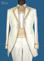 Reference Images Polyester Autumn/Spring Wholesale - Custom-Made Real Sample White with Gold Line Groom Tuxedos Suits For Wedding Evening Formal Men Suit