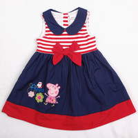 Wholesale H4545 Nova Y Y baby summer clothing girl peppa pig spandex cotton sleeveless wide lapel flower bow lined princess party tank dresses