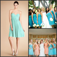 2014 Short bridesmaid dresses with Pleats Coral & Blue &...