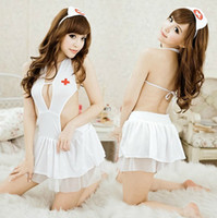 Wholesale Good quality girls sweet sexy nurse uniform role playing conjoined lace skirt cap G string lingeries t5952