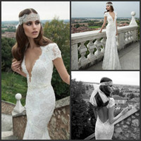 Sheath/Column Reference Images V-Neck Custom Made 2014 Beautiful Court Train Backless Lace Wedding Dresses Berta Bridal Gowns 14103