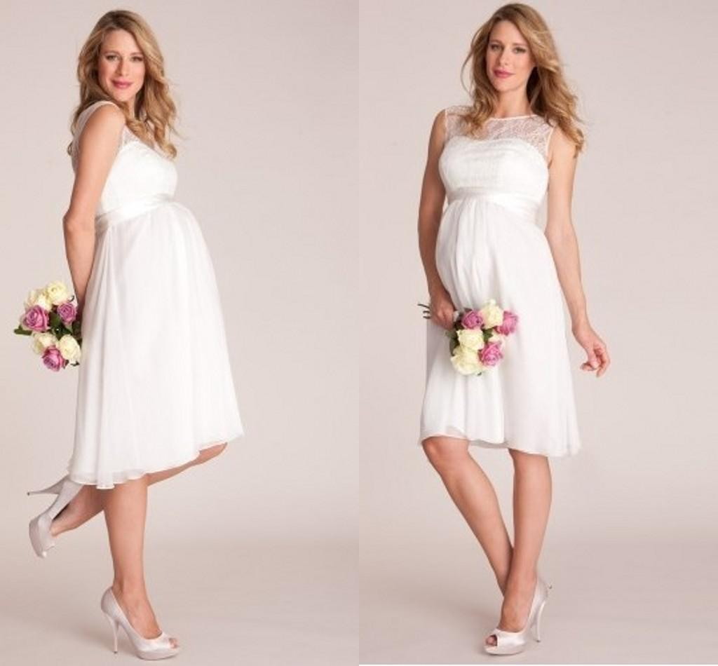 Cheap White Maternity Wedding Dresses: Knee Length 2014 White Maternity Beach Wedding Dresses