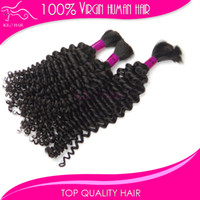 Wholesale Mix length braiding human hair extensions brazilian deep wave hair kinky curly bulk human hair braiding extensions