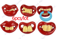 Wholesale 6PCS New Pacifiers Dummy Baby Teether Pacy Orthodontic Nipples Lips Novelty