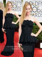Cheap Black Lace Peplum Mermaid Strapless Celebrity Dresses 2014 Golden Globe Awards Red Carpet Satin yk8R447