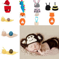 photo props - New Design Hat Costume Set Cosplay Cute Baby Infant Animal Design Crochet Knitted Photo Prop XDT