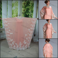 Cheap 2014 DUBAI KAFTAN ABAYA Dress A Line Bell Sleeve Jewel Pink Chiffon White Lace Appliqued Decorated Evening Dresses