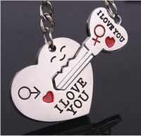 Wholesale Couple Keychain Keyring Keyfob Valentine s Day Pair Lover Gift Heart Key