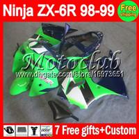 achat en gros de 7gifts zx6r-7gifts+Gratuit Personnalisé Pour les KAWASAKI Ninja verte ZX-6R 98-99 ZX6R M#C99 ZX 6R 6 R 98 99 1998 1999 Carénage Kit bleu vert blanc Sur vente