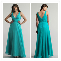 Cheap QM-2014 New Custom Made Cheap Formal Gown For Bride Sexy V Neck Ruched Waist A Line Floor Length Chiffon Lime Green Bridesmaid Dresses