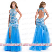 Cheap Halter Mermaid Organza Key Hole Organza Beads Sequin Miss Pageant Dress For Teen Formal Sexy Prom Gown