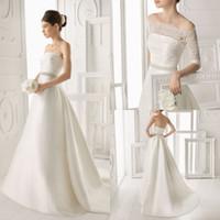 Wholesale Elegant A line Bridal Bateau Half Sleeve Gown Beading Lace Satin Sweep Train Chinese Wedding Dress DL1300486