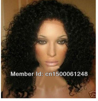 Cheap Free shipping Premium Quality jet black virgin hair wigs Kinky Curly Lace front Wig Malaysian human hair