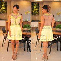Cheap 2014 Sexy A-line Illusion Crew Neckline Sleeveless With Applique Sheer Back Mini Cocktail Gown Party Dresses Dhyz 01