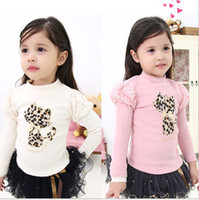 Wholesale 2014 Spring New Arrival Toddler Baby Girl Tshirt Good Quality Pure Cotton Hot Drilling Leopard Cat Kids Tshirts Children Top T Shirts QZ565